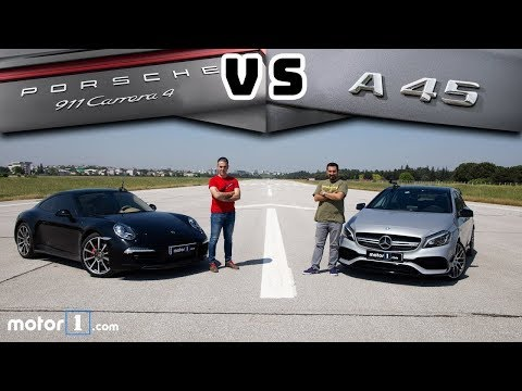Porsche 911 Carrera 4 vs. Mercedes-AMG A45 | Drag & Rolling Yarışı !