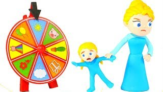 PRINCESS STOPS PLAYING WITH THE WHEEL OF FORTUNE ❤ SUPERHERO BABIES PLAY DOH CARTOONS FOR KIDS