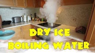 What happens when you throw dry ice into boiling water?