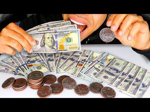 ASMR EDIBLE MONEY MUKBANG PRANK 100 DOLLAR BILLS EATING CASH AND COINS *CHOCOLATE* NO TALKING JERRY