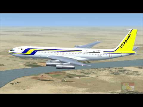 FSX 18.Sudan Airways Cargo, Boeing 707 Landing at Khartoum International Airport, Sudan.