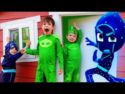 PJ Masks Night Ninja Plays In GIANT Playhouse Pretend Play!