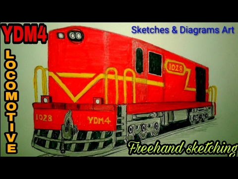 Lets Draw YDM4 Deisel Locomotive Engine INDIAN RAILWAYS
