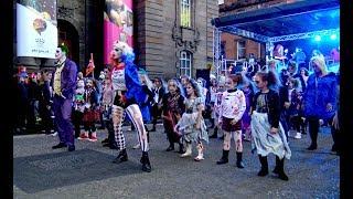 Thriller dance Flash mob during the City of Perth Halloween Fun Night, Perthshire, Scotland - 4K