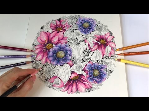 Romantic Garden - Part 1: Scabiosa & Dahlia Flowers Coloring