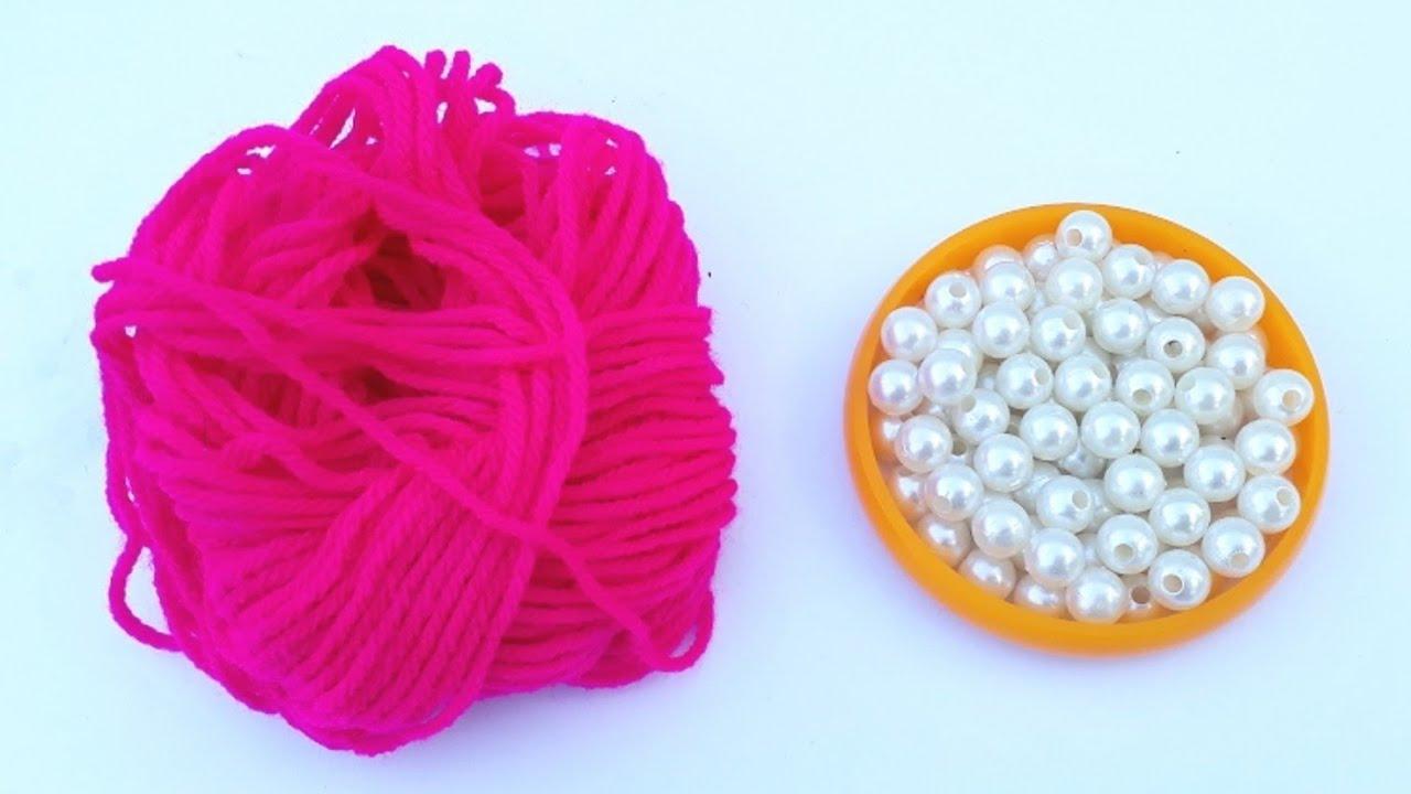Image result for How To Make Designer Pearls Woolen Necklace At Home   DIY   Bridal Necklace   Chokar