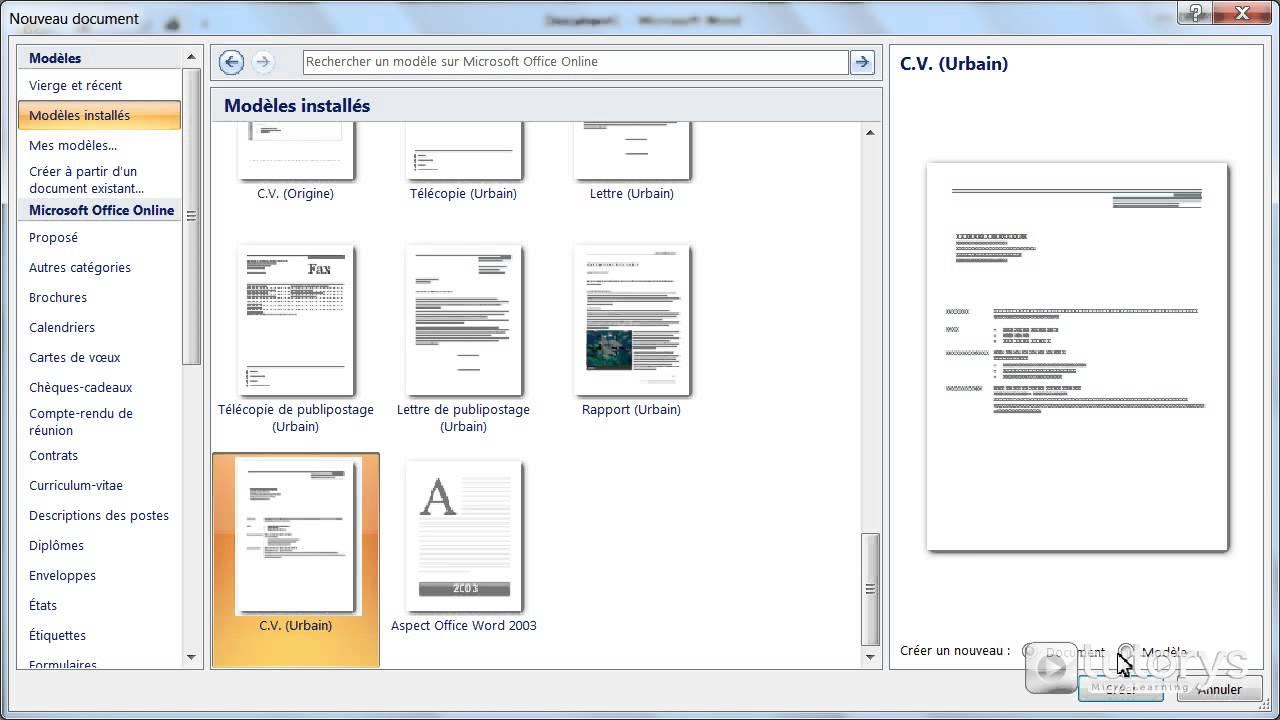 Comment Utiliser Les Modeles De Document Avec Word 2007 Youtube