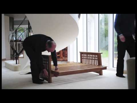 Cambridge Futon, Oak  2 Seater With Sofa Bed Mattress.