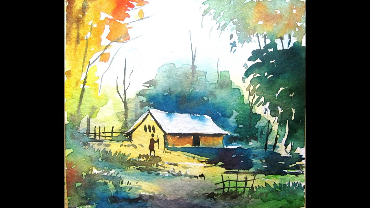 Simple Watercolor Landscape Painting For Beginners