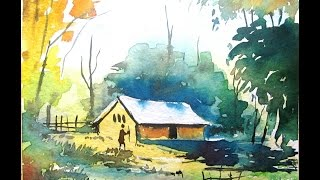 simple watercolor landscape painting, watercolor painting for beginners