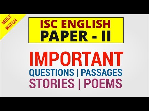 ISC 2019 English Literature - Important Questions Passages Stories Poems Suggestions (Paper 2)