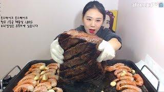 돈스파이크 돈스테이크 한우 1등급 채끝살 1.8KG 먹방 Mukbang eating show 171029