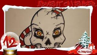 Graffiti Advent Calendar #12 - How to draw a graffiti christmas skull