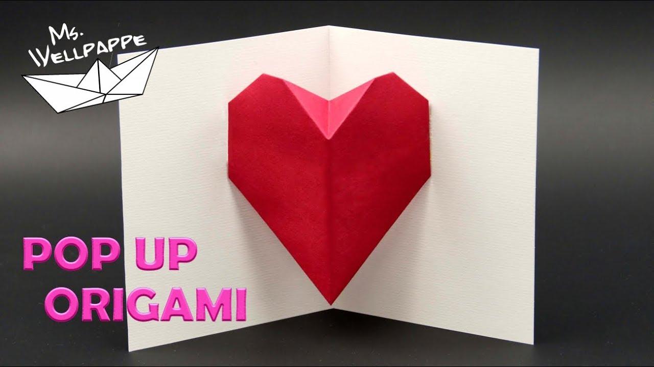 Muttertagsgeschenke Basteln Einfache Origami Herz Pop Up Karte