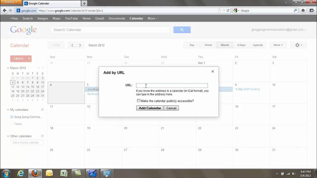 Adding Other Calendars To Google Calendar Youtube