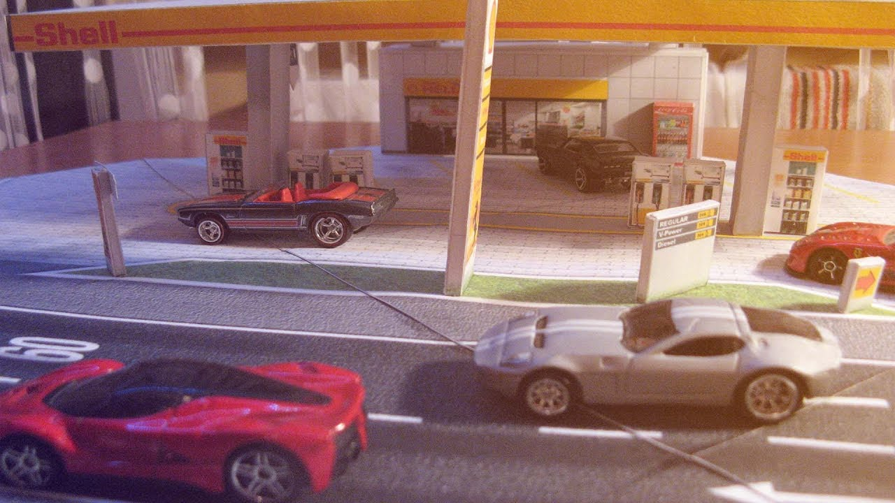 Papercraft Shell Gas Station Papercraft model diorama 1:64