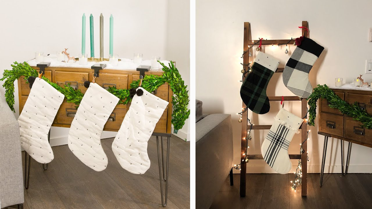 6 Ways To Hang Stockings Without A Fireplace Youtube