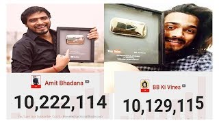 Amit Bhadana Vs BB Ki Vines Live Subscribe Count video