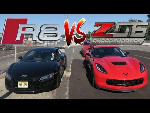 WE FINALLY RACED OUR CARS! AUDI R8 V10 VS CORVETTE Z06 C7 - SUPERCARS