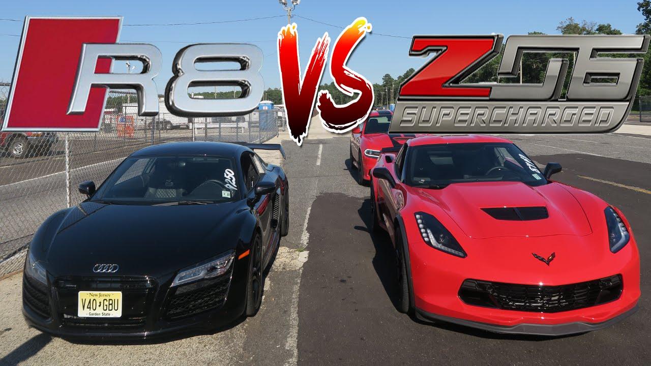 WE FINALLY RACED OUR CARS! AUDI R8 V10 VS CORVETTE Z06 C7 - SUPERCARS - YouTube