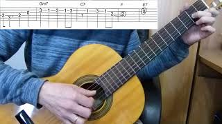 Guitar lesson - Hello, Dolly! - Louis Armstrong - Easy Guitar melody tutorial + TAB