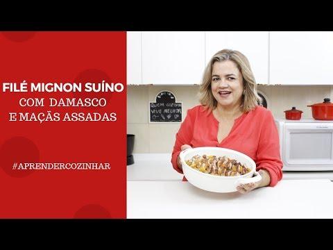 FILÉ MIGNON SUÍNO COM DAMASCO E MAÇÃ ASSADA