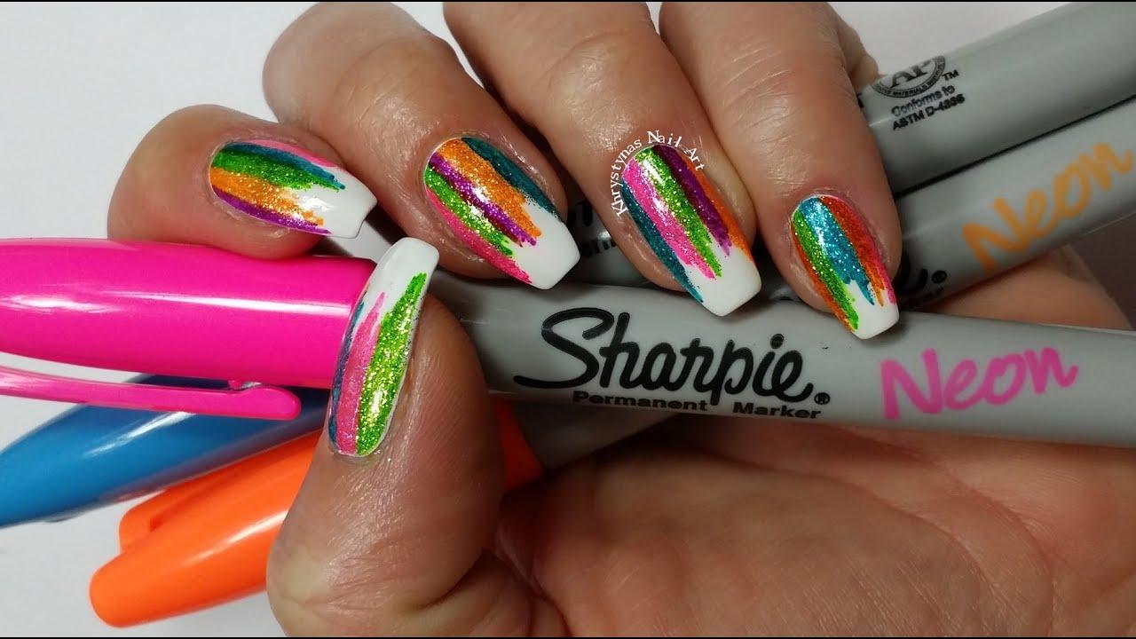 Sharpie Nail Art | DIY Sparkly Neon Highlighter Rainbow Nails ...