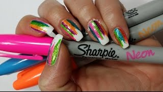 Sharpie Nail Art | DIY Sparkly Neon Highlighter Rainbow Nails!!! (Khrystynas Nail Art)