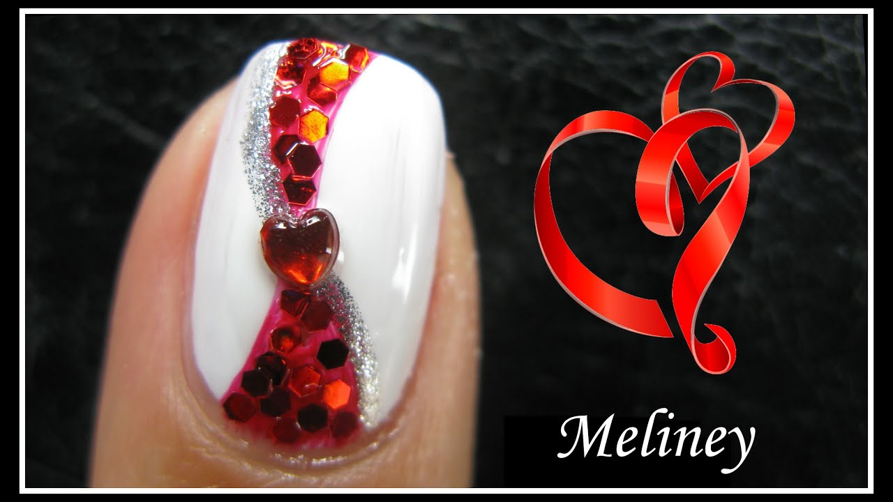Valentine S Day Nail Design Romantic Red Ribbon Heart Nail Art Tutorial Short Beginner Simple