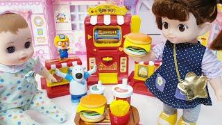 콩순이 아기인형 세라의 햄버거가게  공주토끼 장난감놀이…