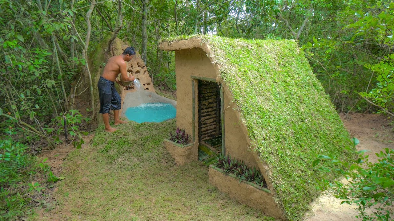 Building The Most Roof Grass Survival Temple House With Bath Pool