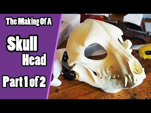 //The Making Of A Skull Head #1// Preparing & Adding Foam - Skull Demon  Fursuit Tutorial