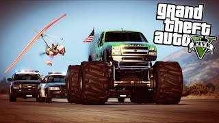 GTA 5 - Evade Ep12 - Air Glider, Monster Truck, and Store Robbery!!