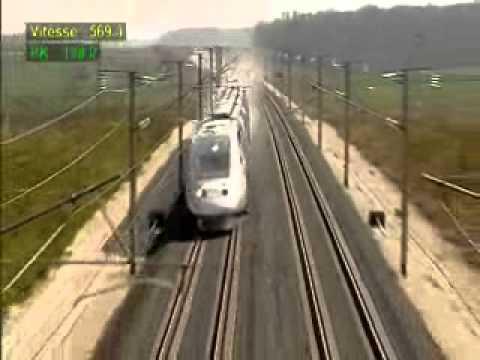 RECORD DE VELOCIDAD MUNDIAL POR FERROCARRIL DE 574,8 Km/h  TGV-SNCF