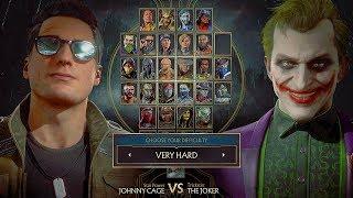 Mortal Kombat 11 Joker Vs Johnny Cage Gameplay Very Hard Difficulty MK11