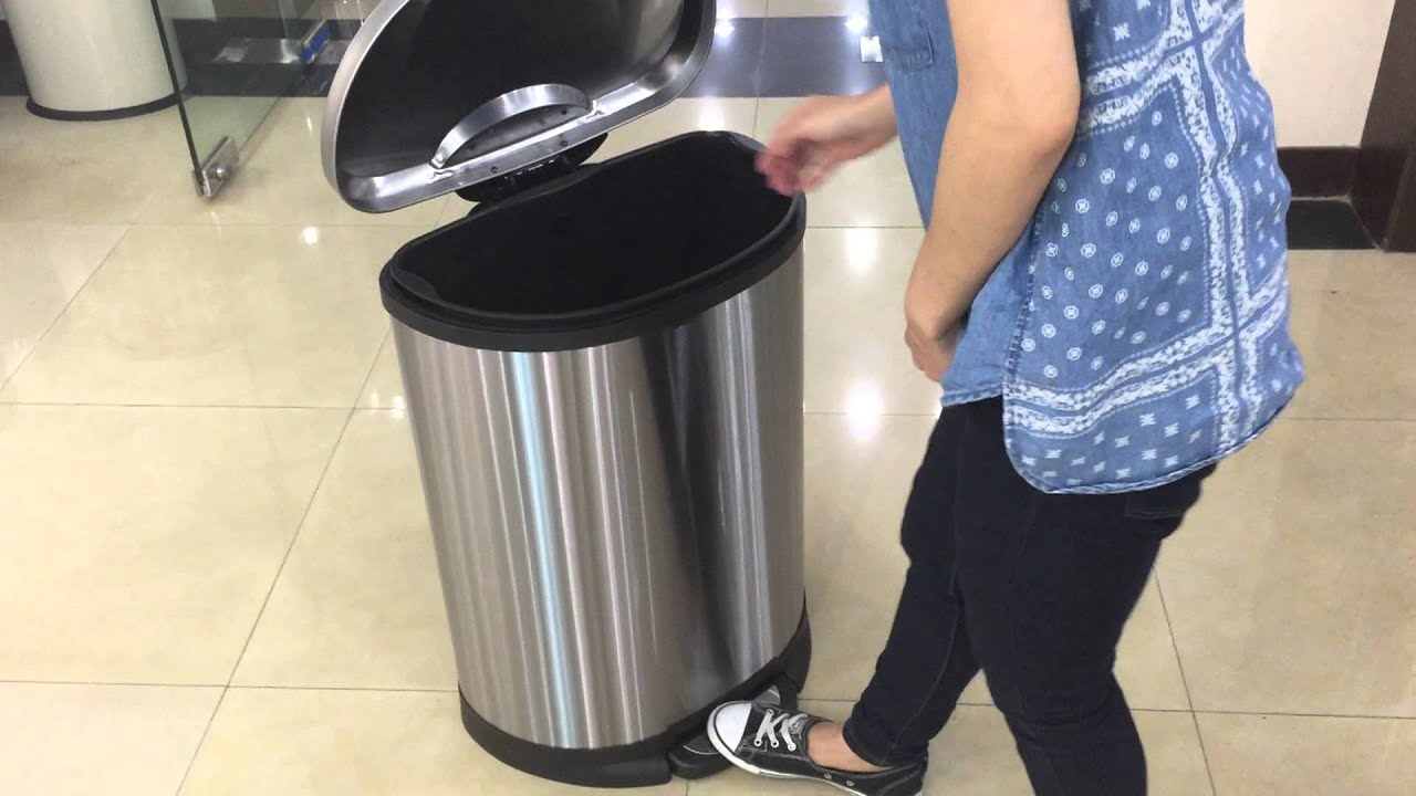 50L Stainless Steel Fingerprint Proof Step Garbage Bin with Slow