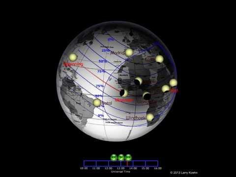 Hybrid Eclipse of the Sun November 3 2013 animated