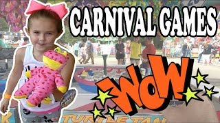 CARNIVAL GAMES WOW! We play a COIN PUSHER OLDER THAN DIRT! Kids love the MIDWAY GAMES at the FAIR!