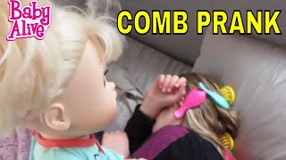 BABY ALIVE Sophie plays a Funny Comb PRANK on Maddie!  Baby Alive Videos