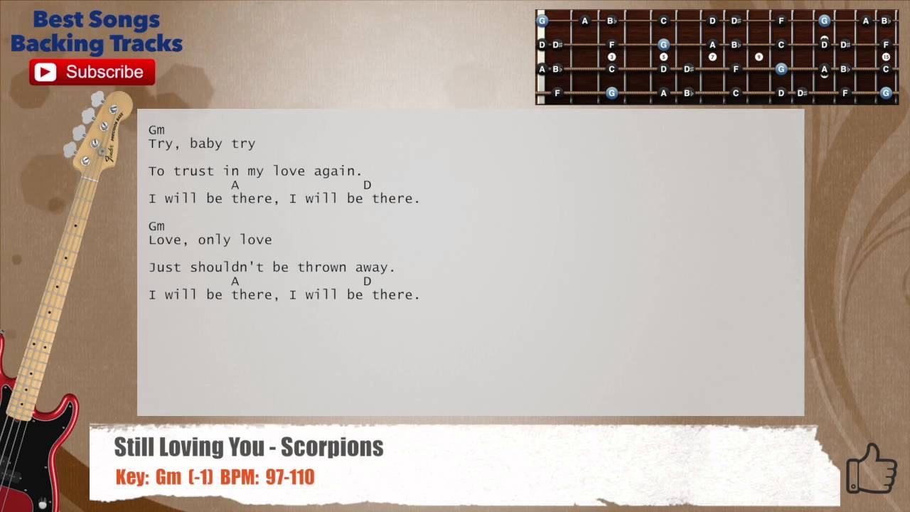Still Loving You Scorpions Bass Backing Track With Chords And