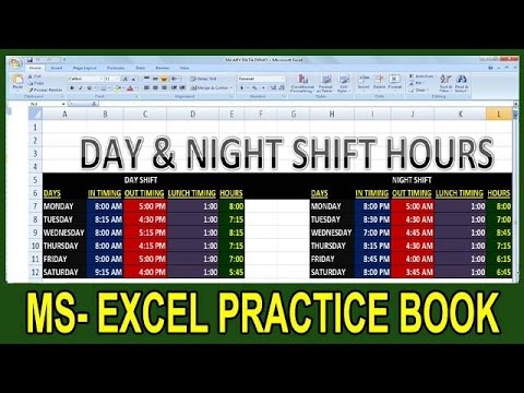 Exercise 10 | Excel Practice Book | How To Calculate Day-Night Shift Hours  Salary In Ms Excel