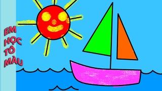 Tô màu tranh Nắng vàng Biển xanh Thuyền buồm lướt sóng