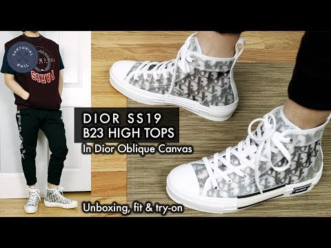 fd5392a3c849 Dior Homme B23 SS19 Summer 2019 High Top Sneakers in Oblique Unboxing by  Kim Jones