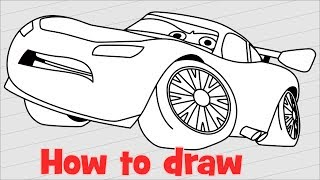 How to draw Lightning McQueen from Cars 3 step by step