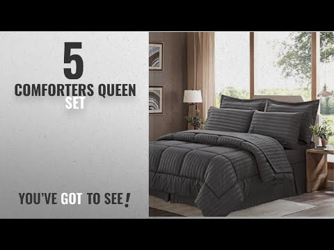 top-10-comforters-queen-set-[2018]:-sweet-home-collection-8-piece-bed-in-a-bag-with-dobby-stripe