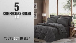 Top 10 ComfortersQueen Set [2018]: Sweet Home Collection 8 Piece Bed In A Bag with Dobby Stripe