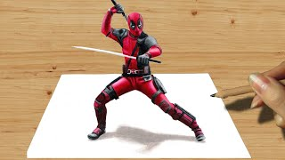 3D Colored Pencil Drawing: Deadpool