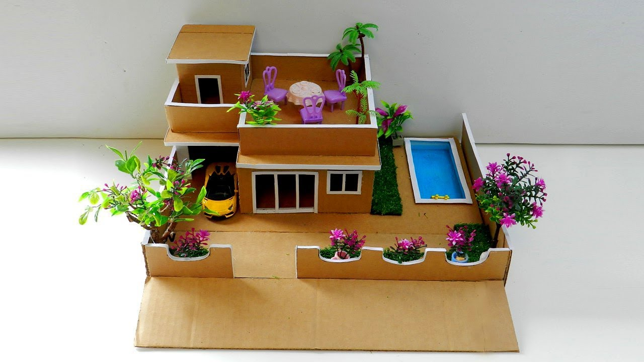 How To Make A Cardboard House With Pool And Garden Easy