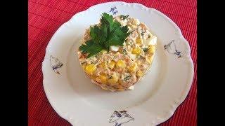 Салат с ТУНЦОМ, сладким болгарским перцем и кукурузой \ ОЧЕНЬ вкусный и ПРОСТОЙ салат