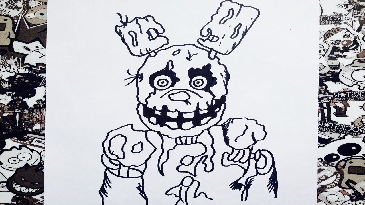 Como Dibujar A Spring Trap Five Nights At Freddys How To Draw Spring Trap